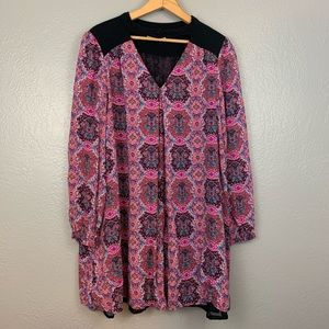 Altar'd State Boho Abstract Print Keyhole Dress